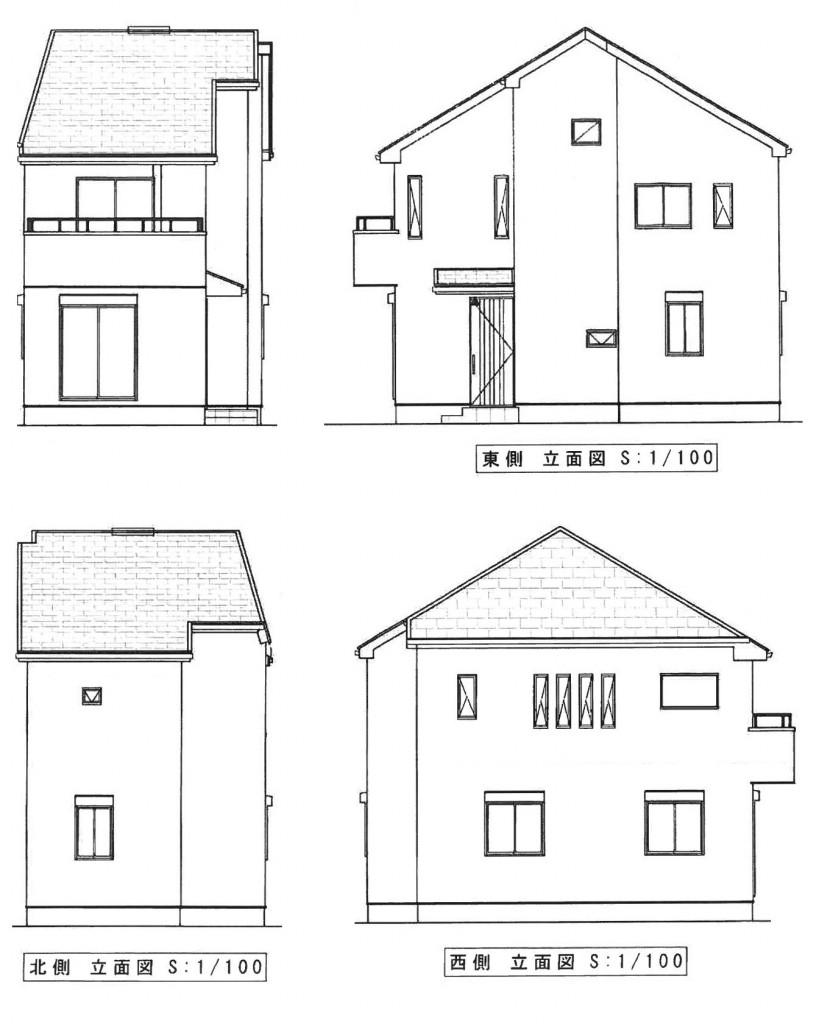 白糸台新築 立面図